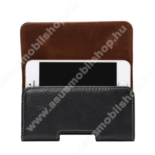ASUS PadFone mini (Intel)Valódi bőr fekvő tok - övre fűzhető, övcsipesz, rejtett mágneses záródás - FEKETE - 127 x 62 x 12mm