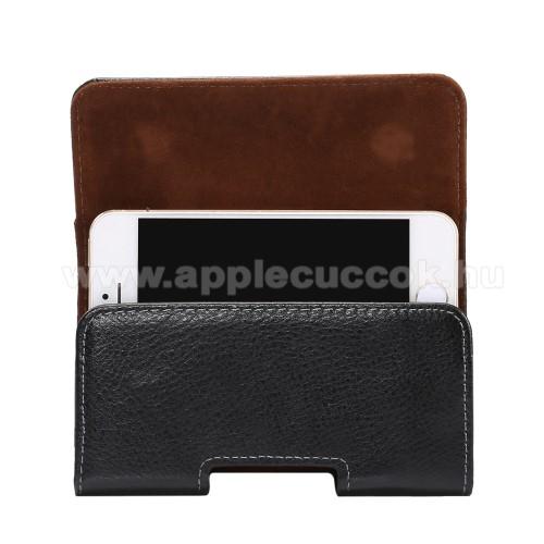 APPLE IPhone 5SValódi bőr fekvő tok - övre fűzhető, övcsipesz, rejtett mágneses záródás - FEKETE - 127 x 62 x 12mm
