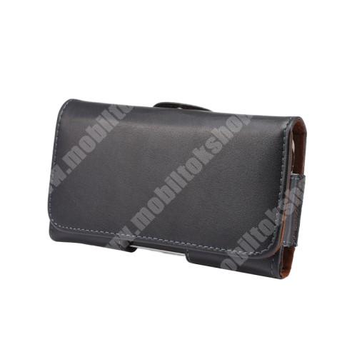 LG X Skin Valódi bőr fekvő tok - övre fűzhető, övcsipesz, rejtett mágneses záródás - FEKETE - 145 x 75 x 16mm
