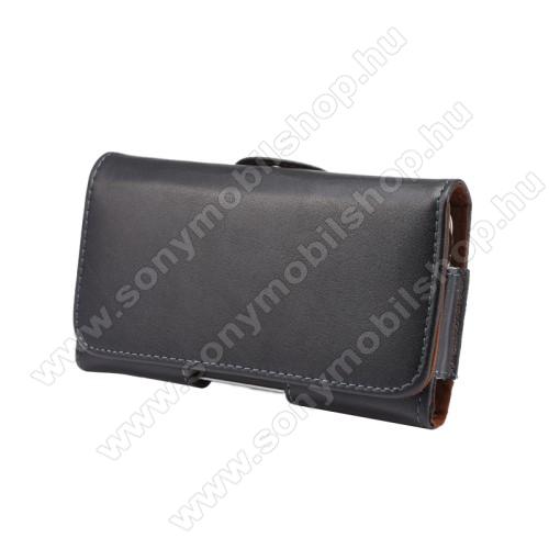 SONY Xperia X PerformanceValódi bőr fekvő tok - övre fűzhető, övcsipesz, rejtett mágneses záródás - FEKETE - 145 x 75 x 16mm