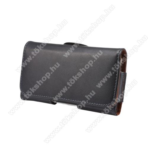 Valódi bőr fekvő tok - övre fűzhető, övcsipesz, rejtett mágneses záródás - FEKETE - 145 x 75 x 16mm