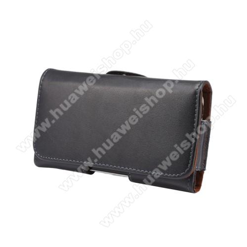 HUAWEI Enjoy 5sValódi bőr fekvő tok - övre fűzhető, övcsipesz, rejtett mágneses záródás - FEKETE - 145 x 75 x 16mm
