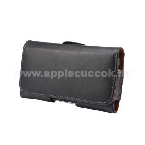 APPLE iPhone XValódi bőr fekvő tok - övre fűzhető, övcsipesz, rejtett mágneses záródás - FEKETE - 145 x 75 x 16mm