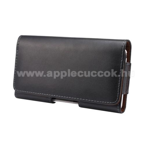 APPLE iPhone 6 PlusValódi bőr fekvő tok - övre fűzhető, övcsipesz, rejtett mágneses záródás - FEKETE - 160 x 79 x 10mm