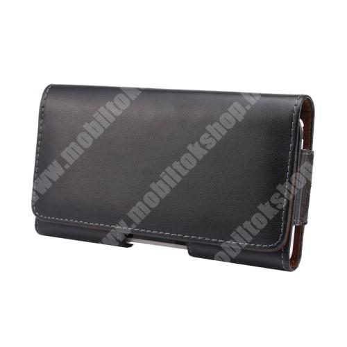 LG X Skin Valódi bőr fekvő tok - övre fűzhető, övcsipesz, rejtett mágneses záródás - FEKETE - 151 x 77 x 10mm
