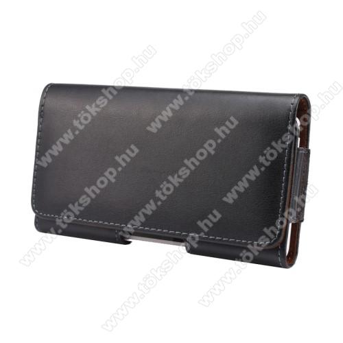 Valódi bőr fekvő tok - övre fűzhető, övcsipesz, rejtett mágneses záródás - FEKETE - 151 x 77 x 10mm