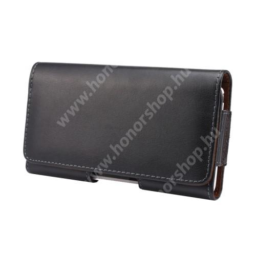 HUAWEI Honor 8 Premium Valódi bőr fekvő tok - övre fűzhető, övcsipesz, rejtett mágneses záródás - FEKETE - 151 x 77 x 10mm