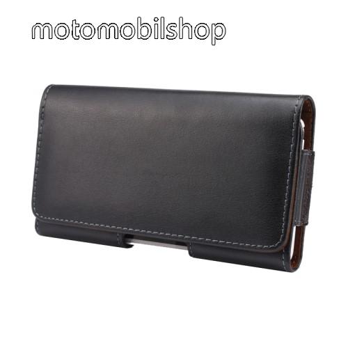 MOTOROLA Moto C Plus Valódi bőr fekvő tok - övre fűzhető, övcsipesz, rejtett mágneses záródás - FEKETE - 151 x 77 x 10mm