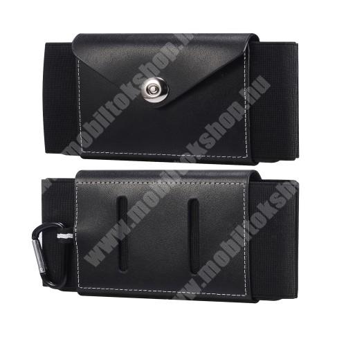 HomTom HT70 Valódi bőr fekvő tok - szövet / valódi bőr, gumis, övre fűzhető, karabiner, patent záródás, bankkártyatartó zseb - FEKETE - 170 x 80 x 15mm