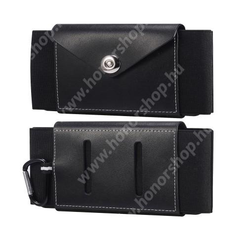 HUAWEI Honor V40 5G Valódi bőr fekvő tok - szövet / valódi bőr, gumis, övre fűzhető, karabiner, patent záródás, bankkártyatartó zseb - FEKETE - 170 x 80 x 15mm