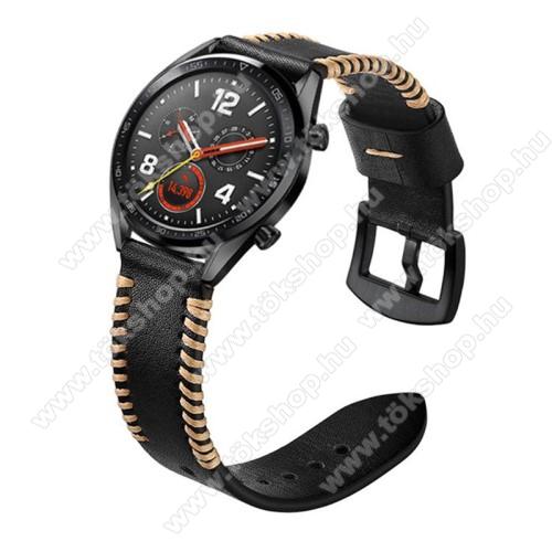 Valódi bőr okosóra szíj - 130mm + 93mm hosszú, 22mm széles, varrás mintás - FEKETE - HUAWEI Watch GT / HUAWEI Watch 2 Pro / Honor Watch Magic / HUAWEI Watch GT 2 46mm