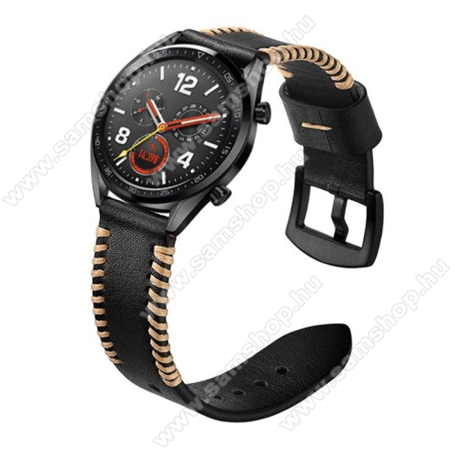SAMSUNG SM-R380 Gear 2Valódi bőr okosóra szíj - 130mm + 93mm hosszú, 22mm széles, varrás mintás - FEKETE - HUAWEI Watch GT / HUAWEI Watch 2 Pro / Honor Watch Magic / HUAWEI Watch GT 2 46mm
