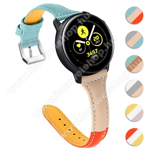 HUAWEI Watch GT 2 46mm Valódi bőr okosóra szíj - 22mm széles, Tricolor - SAMSUNG Galaxy Watch 46mm / SAMSUNG Gear S3 Classic / SAMSUNG Gear S3 Frontier / Huawei Watch GT / Watch GT 2 46mm - KÉK / VILÁGOSBARNA / NARANCS