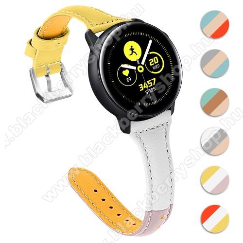 Valódi bőr okosóra szíj - 22mm széles, Tricolor - SAMSUNG Galaxy Watch 46mm / SAMSUNG Gear S3 Classic / SAMSUNG Gear S3 Frontier / Huawei Watch GT / Watch GT 2 46mm - SÁRGA / FEHÉR / RÓZSASZÍN