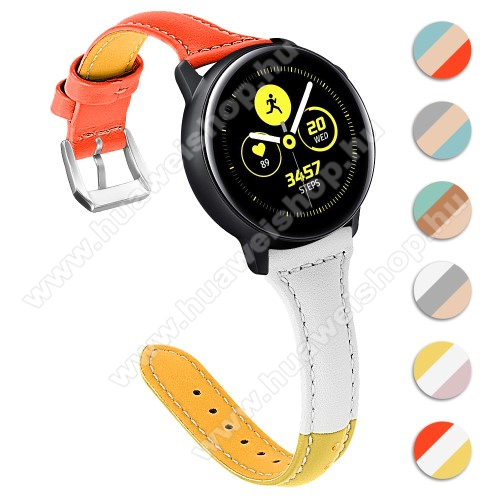 HUAWEI Watch GT 2 46mm Valódi bőr okosóra szíj - 22mm széles, Tricolor - SAMSUNG Galaxy Watch 46mm / SAMSUNG Gear S3 Classic / SAMSUNG Gear S3 Frontier / Huawei Watch GT / Watch GT 2 46mm - NARANCS / FEHÉR / SÁRGA