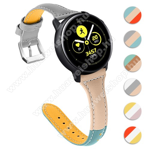 HUAWEI Watch GT 2 46mm Valódi bőr okosóra szíj - 22mm széles, Tricolor - SAMSUNG Galaxy Watch 46mm / SAMSUNG Gear S3 Classic / SAMSUNG Gear S3 Frontier / Huawei Watch GT / Watch GT 2 46mm - VILÁGOSBARNA / SZÜRKE / KÉK