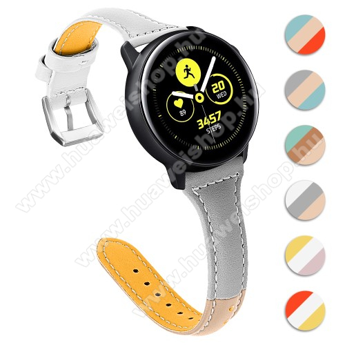 HUAWEI Watch GT 2 46mm Valódi bőr okosóra szíj - 22mm széles, Tricolor - SAMSUNG Galaxy Watch 46mm / SAMSUNG Gear S3 Classic / SAMSUNG Gear S3 Frontier / Huawei Watch GT / Watch GT 2 46mm - VILÁGOSBARNA / SZÜRKE / FEHÉR
