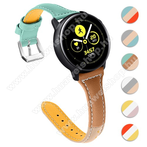 HUAWEI Watch GT 2 46mm Valódi bőr okosóra szíj - 22mm széles, Tricolor - SAMSUNG Galaxy Watch 46mm / SAMSUNG Gear S3 Classic / SAMSUNG Gear S3 Frontier / Huawei Watch GT / Watch GT 2 46mm - ZÖLD / VILÁGOSBARNA / SÖTÉTBARNA