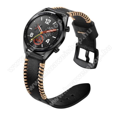HUAWEI Watch 2 ProValódi bőr okosóra szíj - 22mm széles, varrás mintás - FEKETE - HUAWEI Watch GT / HUAWEI Watch 2 Pro / Honor Watch Magic / HUAWEI Watch GT 2 46mm