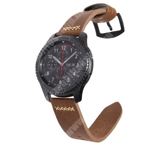 Valódi bőr okosóra szíj - 239mm hosszú, 22mm széles, varrás mintás - SAMSUNG Galaxy Watch 46mm / SAMSUNG Gear S3 Classic / SAMSUNG Gear S3 Frontier - BARNA