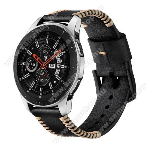 Valódi bőr okosóra szíj - 75mm + 125mm hosszú, 22mm széles, varrás mintás - FEKETE - HUAWEI Watch GT / HUAWEI Watch 2 Pro / Honor Watch Magic / HUAWEI Watch GT 2 46mm