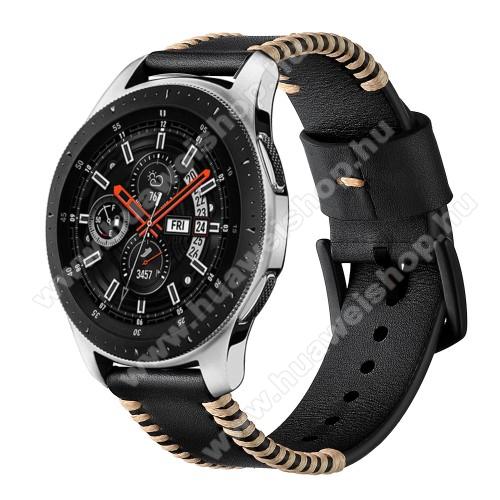 HUAWEI Watch MagicValódi bőr okosóra szíj - 75mm + 125mm hosszú, 22mm széles, varrás mintás - FEKETE - HUAWEI Watch GT / HUAWEI Watch 2 Pro / Honor Watch Magic / HUAWEI Watch GT 2 46mm