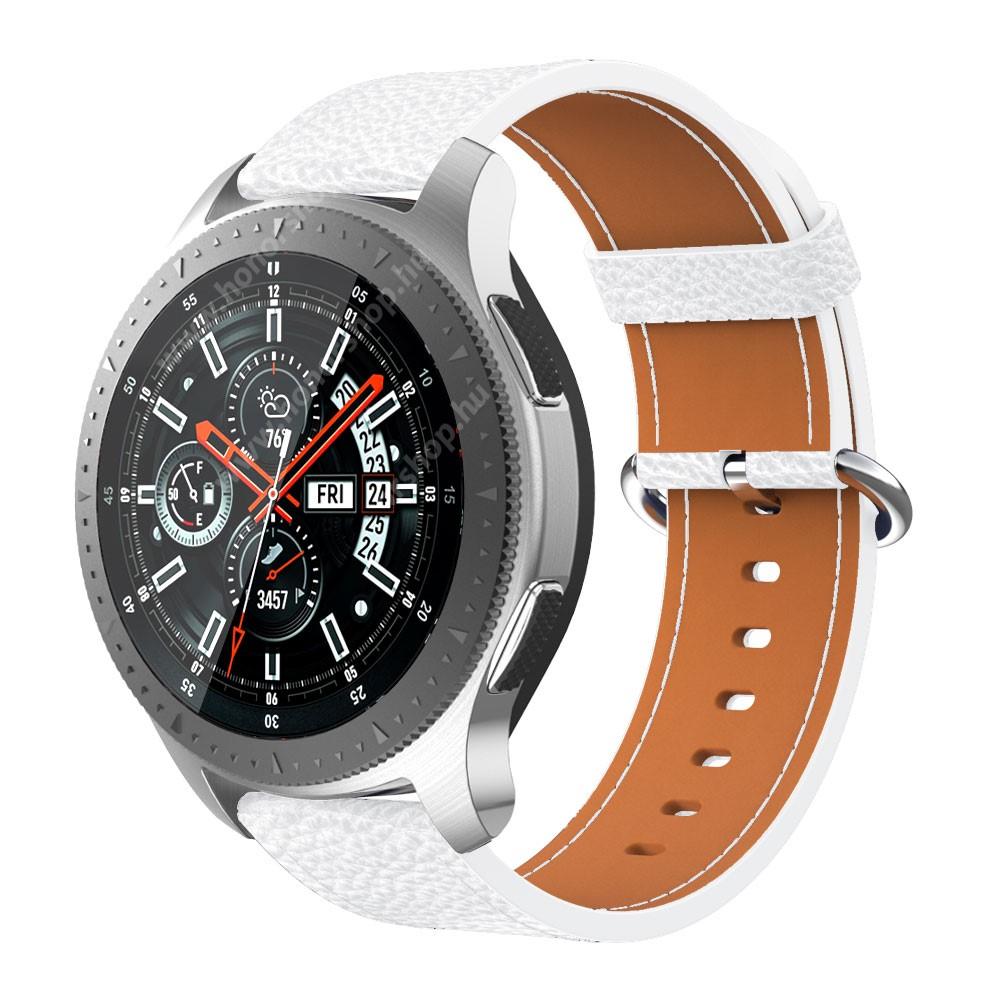 Okosóra szíj szilikon, textúrált mintás FEHÉR 85mm+127mm hosszú, 20mm széles, 135 205mm átmérőjű csuklóméretig SAMSUNG Galaxy Watch 42mm