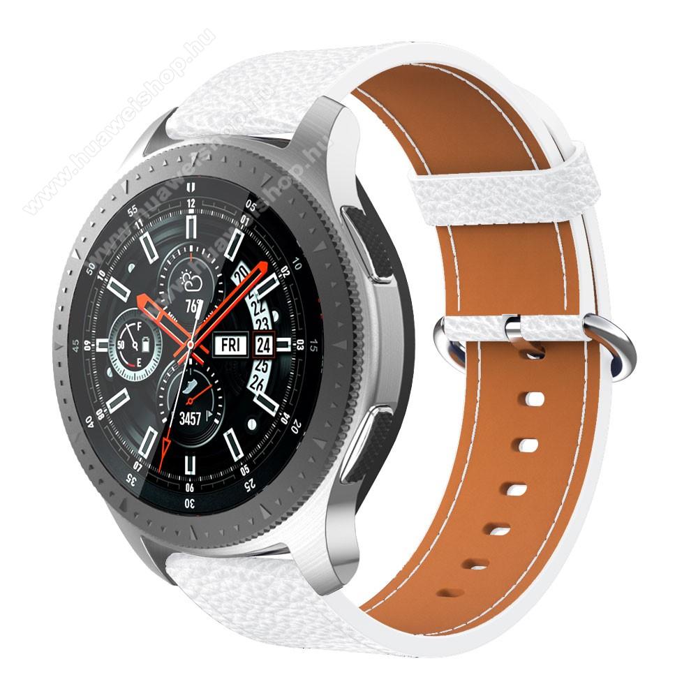Valódi bőr okosóra szíj - 80mm + 120mm hosszú - SAMSUNG Galaxy Watch 46mm / SAMSUNG Gear S3 Classic / SAMSUNG Gear S3 Frontier - FEHÉR