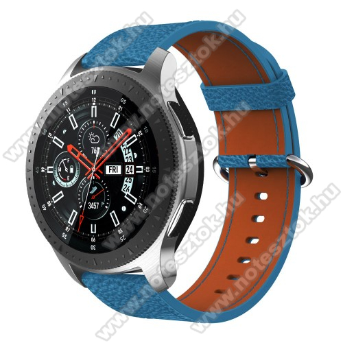 WOTCHI Smartwatch WT35BLLValódi bőr okosóra szíj - 80mm + 120mm hosszú, 22mm széles - SAMSUNG Galaxy Watch 46mm / SAMSUNG Gear S3 Classic / SAMSUNG Gear S3 Frontier - KÉK