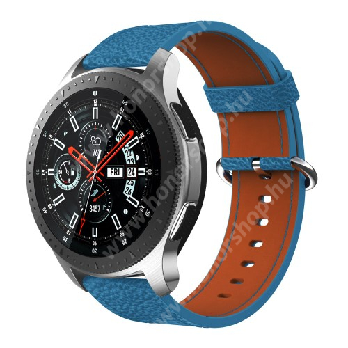 HUAWEI Watch GT 2 46mm Valódi bőr okosóra szíj - 80mm + 120mm hosszú, 22mm széles - SAMSUNG Galaxy Watch 46mm / SAMSUNG Gear S3 Classic / SAMSUNG Gear S3 Frontier - KÉK