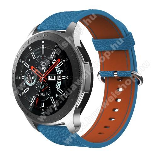 HUAWEI Watch MagicValódi bőr okosóra szíj - 80mm + 120mm hosszú, 22mm széles - SAMSUNG Galaxy Watch 46mm / SAMSUNG Gear S3 Classic / SAMSUNG Gear S3 Frontier - KÉK
