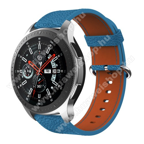 HUAWEI Watch 2 ProValódi bőr okosóra szíj - 80mm + 120mm hosszú, 22mm széles - SAMSUNG Galaxy Watch 46mm / SAMSUNG Gear S3 Classic / SAMSUNG Gear S3 Frontier - KÉK