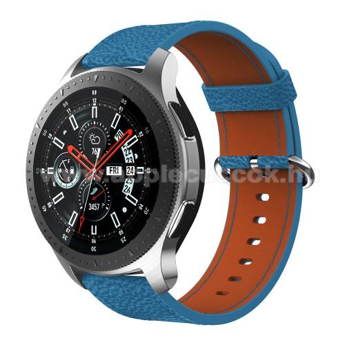 Valódi bőr okosóra szíj - 80mm + 120mm hosszú, 22mm széles - SAMSUNG Galaxy Watch 46mm / SAMSUNG Gear S3 Classic / SAMSUNG Gear S3 Frontier - KÉK