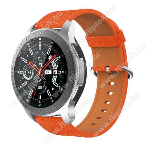 ZTE Watch GTValódi bőr okosóra szíj - 80mm + 120mm hosszú, 22mm széles - SAMSUNG Galaxy Watch 46mm / SAMSUNG Gear S3 Classic / SAMSUNG Gear S3 Frontier - NARANCS