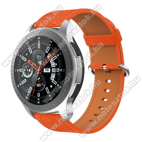 Xiaomi Mi Watch (FOR GLOBAL MARKET)Valódi bőr okosóra szíj - 80mm + 120mm hosszú, 22mm széles - SAMSUNG Galaxy Watch 46mm / SAMSUNG Gear S3 Classic / SAMSUNG Gear S3 Frontier - NARANCS