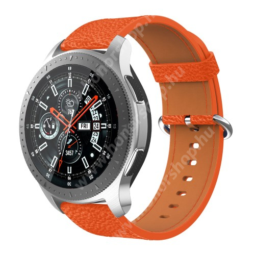 HUAWEI Watch GT 2 46mm Valódi bőr okosóra szíj - 80mm + 120mm hosszú, 22mm széles - SAMSUNG Galaxy Watch 46mm / SAMSUNG Gear S3 Classic / SAMSUNG Gear S3 Frontier - NARANCS