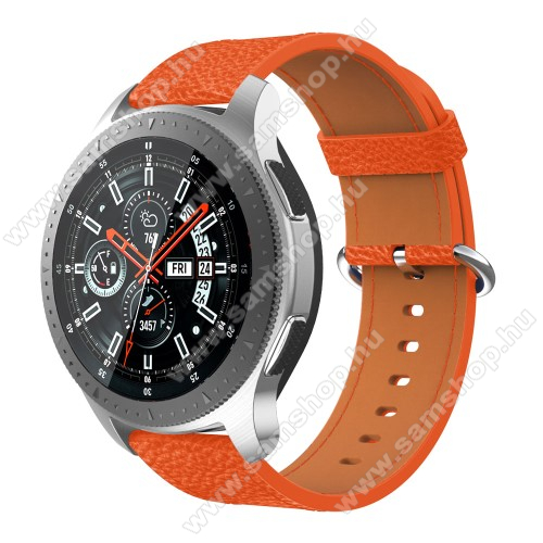 SAMSUNG SM-R760 Gear S3 FrontierValódi bőr okosóra szíj - 80mm + 120mm hosszú, 22mm széles - SAMSUNG Galaxy Watch 46mm / SAMSUNG Gear S3 Classic / SAMSUNG Gear S3 Frontier - NARANCS