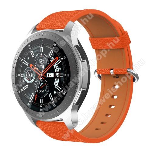 HUAWEI Watch MagicValódi bőr okosóra szíj - 80mm + 120mm hosszú, 22mm széles - SAMSUNG Galaxy Watch 46mm / SAMSUNG Gear S3 Classic / SAMSUNG Gear S3 Frontier - NARANCS