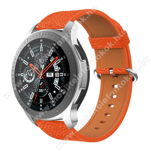 Xiaomi Watch ColorValódi bőr okosóra szíj - 80mm + 120mm hosszú, 22mm széles - SAMSUNG Galaxy Watch 46mm / SAMSUNG Gear S3 Classic / SAMSUNG Gear S3 Frontier - NARANCS