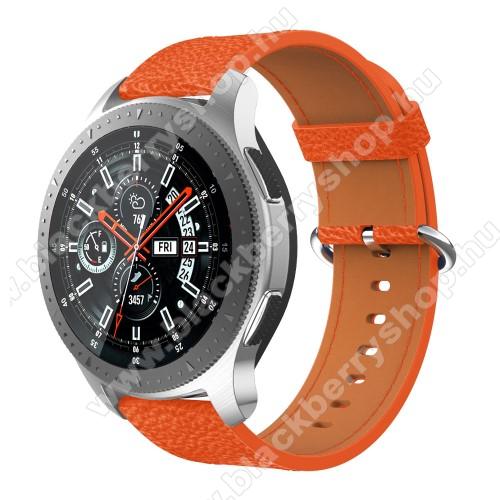 Valódi bőr okosóra szíj - 80mm + 120mm hosszú, 22mm széles - SAMSUNG Galaxy Watch 46mm / SAMSUNG Gear S3 Classic / SAMSUNG Gear S3 Frontier - NARANCS