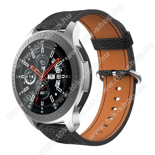 Valódi bőr okosóra szíj - 80mm + 120mm hosszú, 22mm széles - SAMSUNG Galaxy Watch 46mm / SAMSUNG Gear S3 Classic / SAMSUNG Gear S3 Frontier - FEKETE