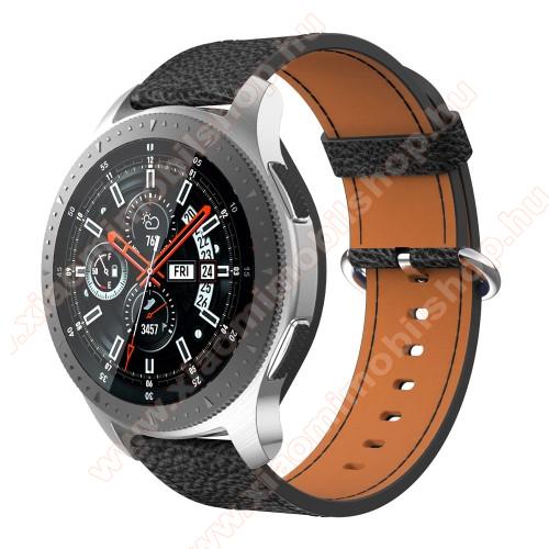 Xiaomi Amazfit GTR 47mmValódi bőr okosóra szíj - 80mm + 120mm hosszú, 22mm széles - SAMSUNG Galaxy Watch 46mm / SAMSUNG Gear S3 Classic / SAMSUNG Gear S3 Frontier - FEKETE