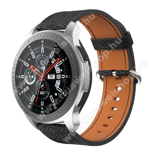 Valódi bőr okosóra szíj - 80mm + 120mm hosszú - SAMSUNG Galaxy Watch 46mm / SAMSUNG Gear S3 Classic / SAMSUNG Gear S3 Frontier - FEKETE