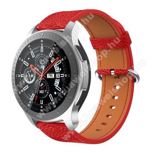 Valódi bőr okosóra szíj - 80mm + 120mm hosszú - SAMSUNG Galaxy Watch 46mm / SAMSUNG Gear S3 Classic / SAMSUNG Gear S3 Frontier - PIROS