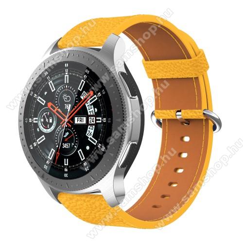 Valódi bőr okosóra szíj - 80mm + 120mm hosszú, 22mm széles - SAMSUNG Galaxy Watch 46mm / SAMSUNG Gear S3 Classic / SAMSUNG Gear S3 Frontier - SÁRGA