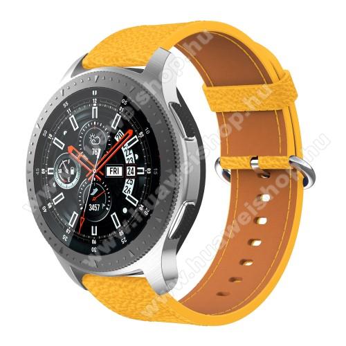 Valódi bőr okosóra szíj - 80mm + 120mm hosszú - SAMSUNG Galaxy Watch 46mm / SAMSUNG Gear S3 Classic / SAMSUNG Gear S3 Frontier - SÁRGA