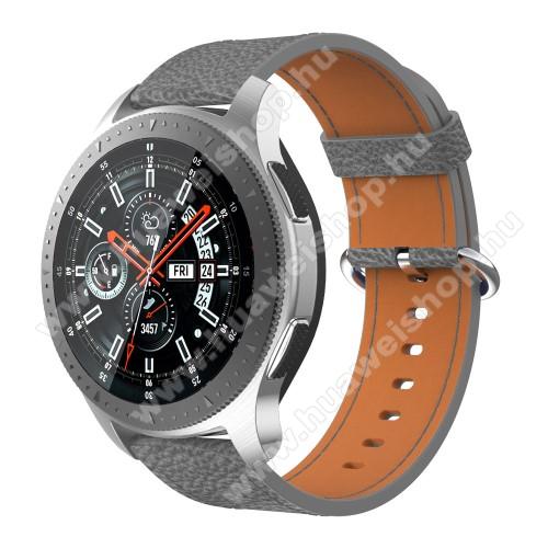 Valódi bőr okosóra szíj - 80mm + 120mm hosszú - SAMSUNG Galaxy Watch 46mm / SAMSUNG Gear S3 Classic / SAMSUNG Gear S3 Frontier - SZÜRKE