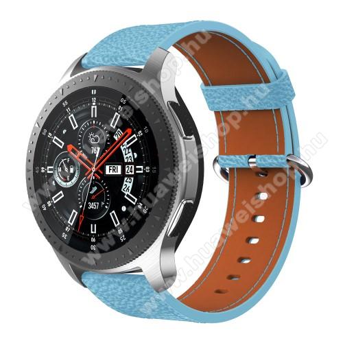 Valódi bőr okosóra szíj - 80mm + 120mm hosszú - SAMSUNG Galaxy Watch 46mm / SAMSUNG Gear S3 Classic / SAMSUNG Gear S3 Frontier - VILÁGOSKÉK