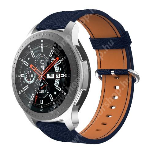 HUAWEI Watch GT 46mm Valódi bőr okosóra szíj - 80mm + 120mm hosszú, 22mm széles - SAMSUNG Galaxy Watch 46mm / SAMSUNG Gear S3 Classic / SAMSUNG Gear S3 Frontier - SÖTÉTKÉK