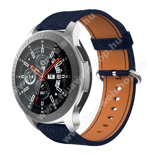 HUAWEI Watch MagicValódi bőr okosóra szíj - 80mm + 120mm hosszú, 22mm széles - SAMSUNG Galaxy Watch 46mm / SAMSUNG Gear S3 Classic / SAMSUNG Gear S3 Frontier - SÖTÉTKÉK